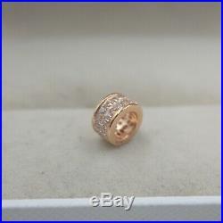 Pure 18K Rose Gold Square Tube pave set Zircon Bling Pendant Au750 7mm L Small