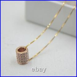 Pure 18K Rose Gold Tube pave set Zircon Bling Pendant Au750 6mm L Small