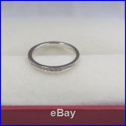 Pure 18K White Gold Ring set 0.11ct Diamonds Band Ring Size 3.25