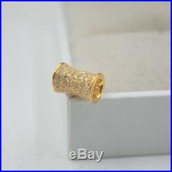 Pure 18K Yellow Gold Tube pave set Zircon Bling Pendant Au750