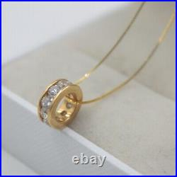 Pure 18K Yellow Gold Tube pave set Zircon Bling Pendant Au750 10mm L Small