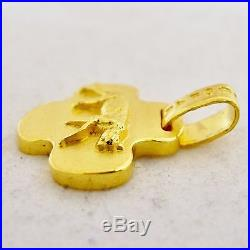 Pure 24K. 9999 Yellow Gold Pendant & Earrings Set with Leopard Cats (13.9 grams)