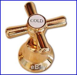 Pure 24K Yellow GOLD Mondella Cadenza Bathroom Basin Taps and Spout Set