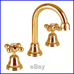 Pure 24K Yellow GOLD Mondella Maestro Bathroom Basin Taps and Spout Set