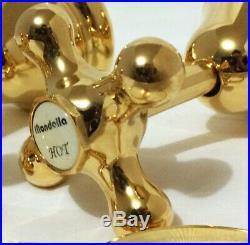 Pure 24K Yellow GOLD Mondella Maestro Cross Handle Bath Set Wall Taps and Spout