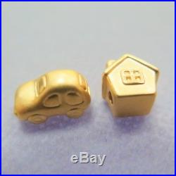 Pure 24K Yellow Gold 3D Bless Carved House and Car Bead Pendant (2pcs/ one set)
