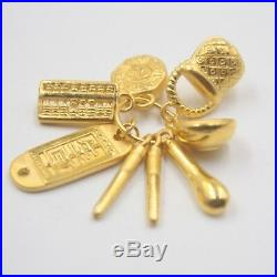 Pure 24K Yellow Gold Pendant Baby Sets Of Happiness Lucky Pendant 32 mm H