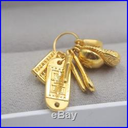 Pure 24K Yellow Gold Pendant Baby Seven Sets Of Happiness Lucky Pendant 32 mm H