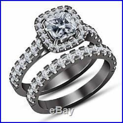 Pure 925 Silver Cushion Cut Diamond Wedding Bridal Set Ring In 14K Black Gold FN