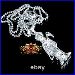 Pure 925 Silver Santisima Muerte Death Ripper Angel Of Death Pendant Chain Set