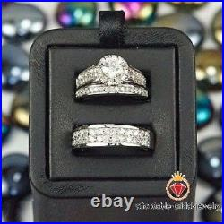Pure 925 Silver White Gold Finish Diamond Engagement Ring Trio Wedding Band Set