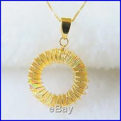 Pure Au750 18K Yellow Gold Chain Set Women's Lucky Circle Pendant Necklace