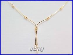 Pure Au750 18K Yellow Gold Chain Set Women's Unique Snake Link Bead Necklace