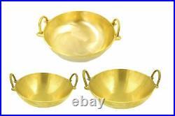 Pure Bronze Cooking Wok Combo set, 8, 9, 12 inch Kansa Kadai Set, Cheenachatti