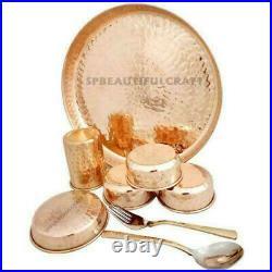 Pure Copper Dinner Set, Copper Plate, Copper Thali Hammered Finish, Total 8 Pcs