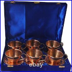 Pure Copper Hammered Tea Cups Set, Antique Cup Set, 6 PCs, 200 ml, Gift Item