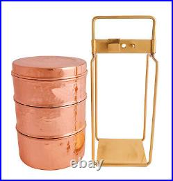 Pure Copper Royal Lunch Box Set, 3 Bowls with Spoon, Inside Tin Polish Tiffin