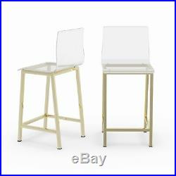 Pure Decor Clear Acrylic Counter Stool Set of 2