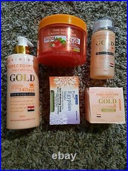 Pure Egyptian Magic Whitening Gold Set(lotion, body scrub, serum, soap, face cream)
