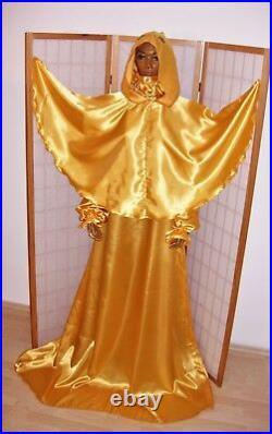 Pure Gold Glanzsatin Nachtkleid Set Mit Cape Kapuze Adult