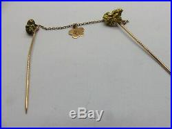 Pure Gold Nugget Antique Double Love Token Stick Pin Set