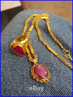Pure Gold Ruby Necklace And Ring Set