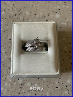 Pure Love Sterling Silver With 24ky Gold Heart Wedding Set