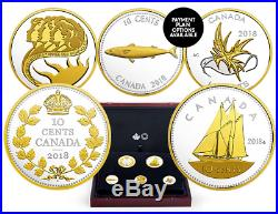 Pure Silver Gold-Plated 5-Coin Set Legacy of the Dime Mintage 3,000 (2018)