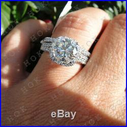 Pure Solid 10k White Gold 3Ct Round Cut Diamond Bridal Set Engagement Ring