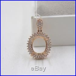 Pure Solid 18K Rose Gold 0.471Ct Diamonds Pendant Setting Custom Design