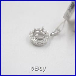 Pure Solid 18K White Gold 0.293Ct Diamonds Pendant Setting Custom Design