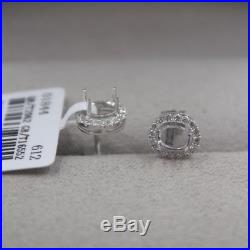 Pure Solid 18K White Gold 0.341Ct Diamonds Earrings Setting Custom Design