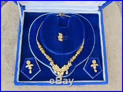 Pure Solid 22k Gold Necklace Set With Earrings And A Ring