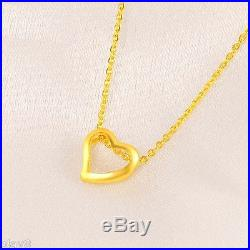 Pure Solid 999 24K Yellow Gold Chain Set Women's O Link Heart Necklace 16inch