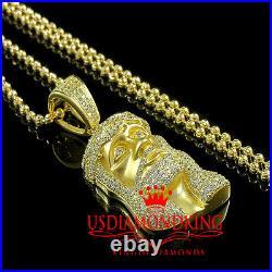 Pure Sterling Silver 14k Yellow Gold Finish Mini Jesus Charm Pendant Chain Set