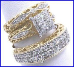 Pure Yellow Gold 14k Trio His And Her Engagement Wedding Bridal Ring Set Diamond
