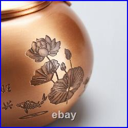 Pure copper tea set handmade carved lotus flower tea pot cup coaster gift box