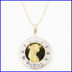 Pure gold coin pendant 1/25 ounce Cleopatra pyramid camel double-sided glass ent