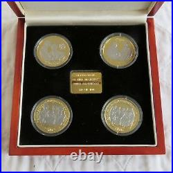 QEII 80th BIRTHDAY 4x SILVER PROOF SET LAYERED WITH PURE GOLD / RHODIUM PLATINUM
