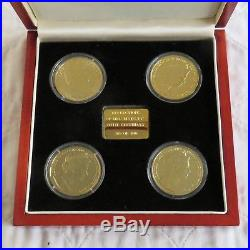 QEII 80th BIRTHDAY 4x SILVER PROOF SET LAYERED WITH PURE GOLD / RHODIUM PLATINUM