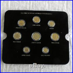 Qeii 8 Coin Decimal Set Layered In Pure Gold Accented With Rhodium Platinum