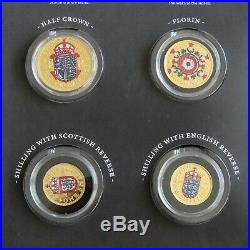 Qeii 9 Coin Pre Decimal Coin Set Layered In Pure Gold And Accented In Colour