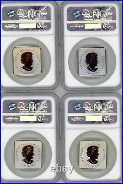 Quartet Maple Leafs 4 Coin Set 30 Years Pure Silver Rose Gold Plated Ngc Pf70