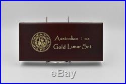 RARE 1996-2007 AUSTRALIA GOLD LUNAR SET of 12 COINS 12 OZ PURE GOLD With Box! S1
