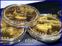 RARE 2 oz. Pure Silver Gold-Plated 3-Coin Set Predator and Prey Gold Reflection