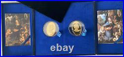 RARE! Crown Gilded Silver 2 Coin Set Gem Stones Proof 2 oz. 999 Pure Silver