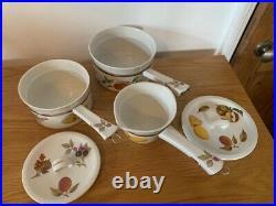 RARE Royal Worcester Evesham Gold porcelain saucepan trio Set. Perfect