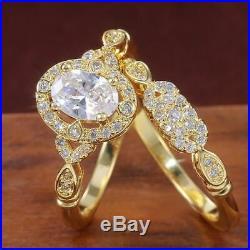 REAL 14K Yellow Pure Gold Oval Round Diamond Engagement Ring Wedding Bridal Set