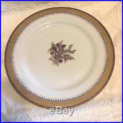 REDUCED. MOTTEDEH LIMOGES PERFECT 4pc Setting for EIGHT. PURPLE IRIS/Gold trim