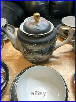 Raised Dragon Moriage Dragonware Tea Set/Oriental. 14k Gold Trim Blue Eye/PERFECT
